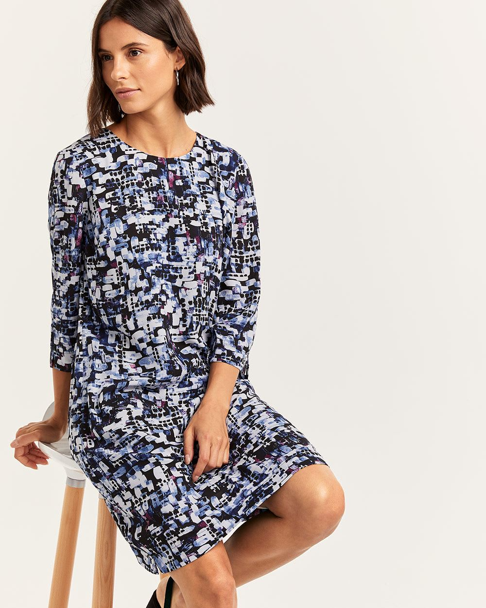 Printed Shift Dress with Side Slits