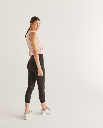 Hyba Black Cropped Leggings with Mesh