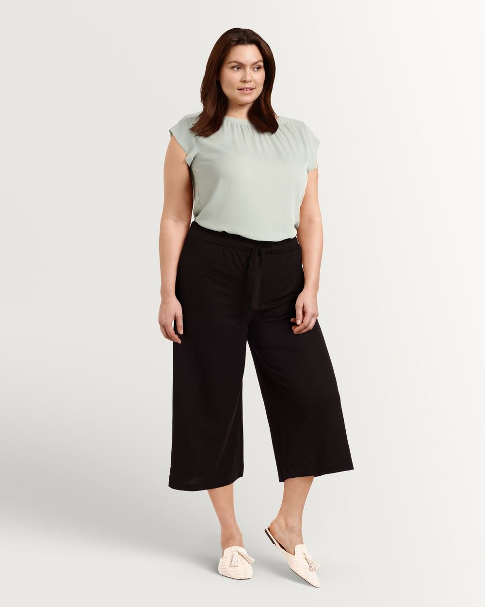 Pull On Knit Wide Cropped Pants