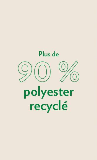 plus de 90% polyester recyclé