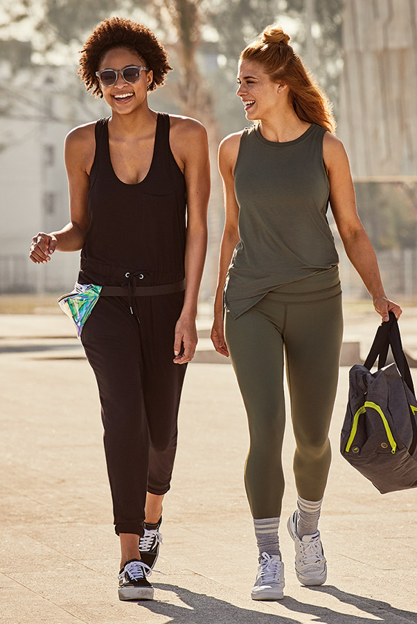 two women wearing sports clothes